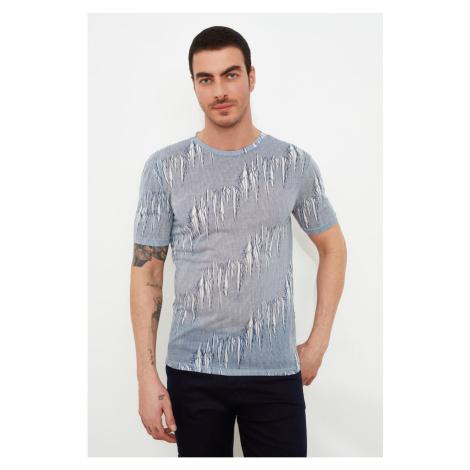 Modsyol Szary Mężczyzna Slim Fit Kołnierz rowerowy Krótki rękaw T-Shirt Trendyol