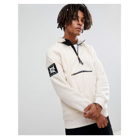 Volcom abandoned playground sherpa fleece 1/4 zip sweatshirt in white