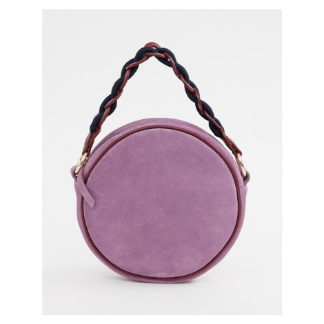 ASOS DESIGN suede circle bag with statement strap