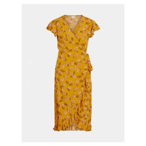 Musztardowa wzorzysta sukienka kopertowa VILA