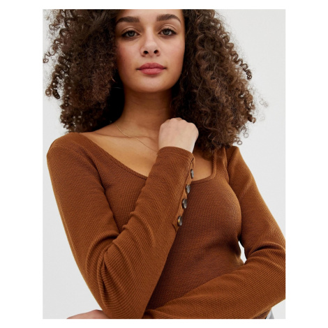 ASOS DESIGN crop top with scoop neck and long sleeve with buttons