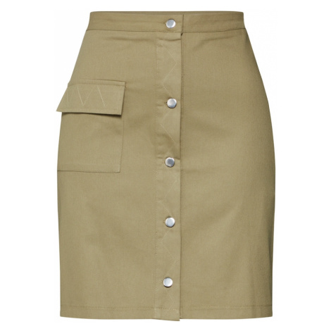 Boohoo Spódnica 'Utility Button Through' khaki
