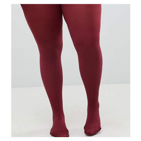 ASOS DESIGN Curve super stretch 90 denier tights In burgundy