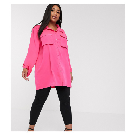 PrettyLittleThing Plus oversized satin shirt with pocket detail in hot pink