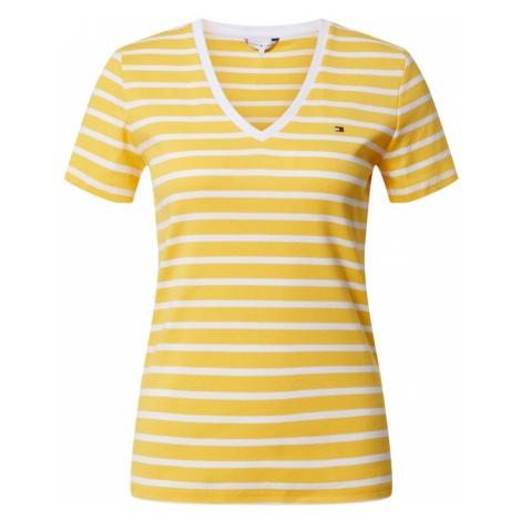 TOMMY HILFIGER Koszulka 'SP AISHA SLIM V-NK TOP SS' biały / żółty