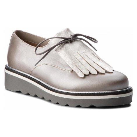 Oxfordy TOMMY HILFIGER - Pearlized Leather Lace Up Shoe FW0FW02937 Moonbeam 009
