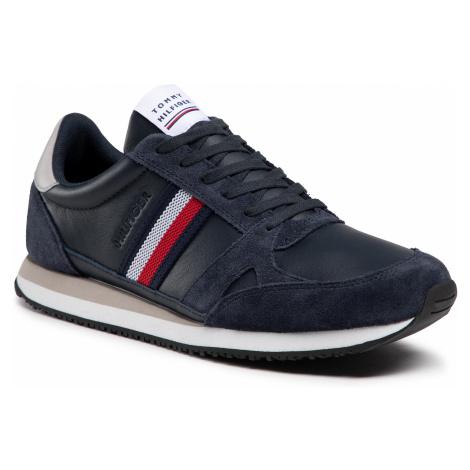 Sneakersy TOMMY HILFIGER - Runner Lo Leather Stripes FM0FM03430 Desert Sky DW5
