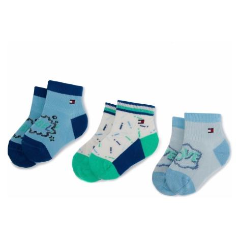 Zestaw 3 par wysokich skarpet dziecięcych TOMMY HILFIGER - 395005001 Blue Combo 019