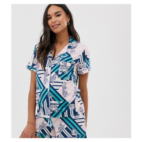 Chelsea Peers Maternity stripe tiger print short pyjama set