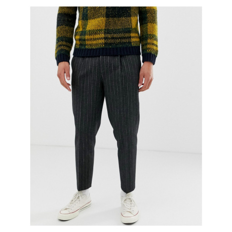 ASOS DESIGN tapered wool mix trouser with stripe in charcoal