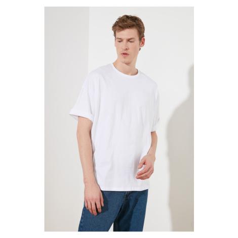 Trendyol White Męski Oversize T-Shirt