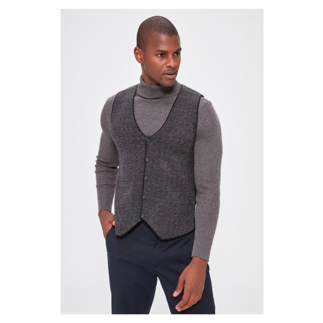 Trendyol Navy Blue Men's Jacquard Knitwear Vest