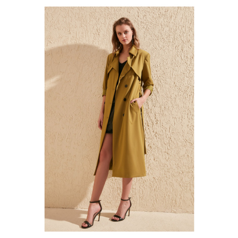 Trendyol Green Belt Button Off Long Trench Coat