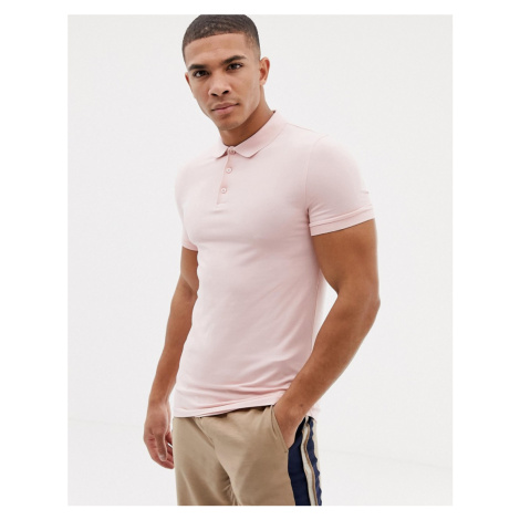 ASOS DESIGN muscle fit jersey polo in jersey in pink