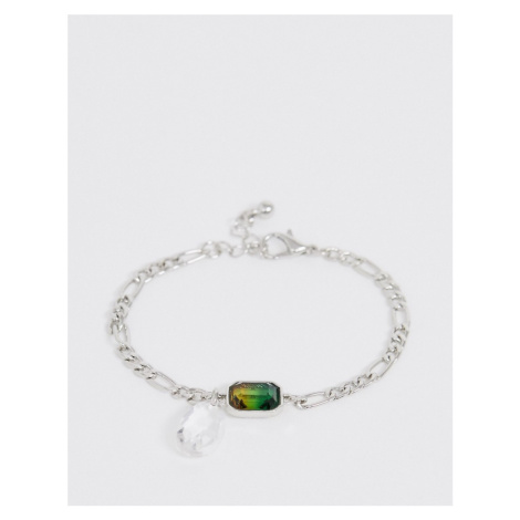 ASOS DESIGN bracelet with ombre crystal and teardrop jewel in silver tone