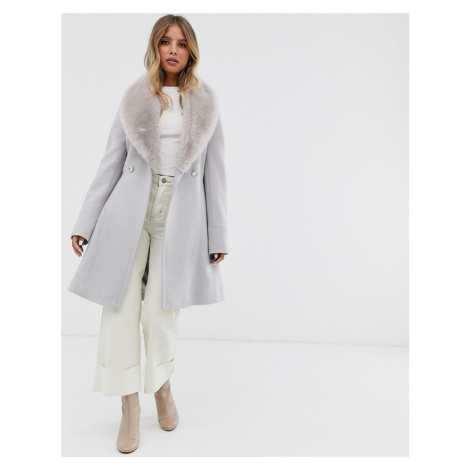 Forever New midi wrap tie coat with faux fur collar in mink