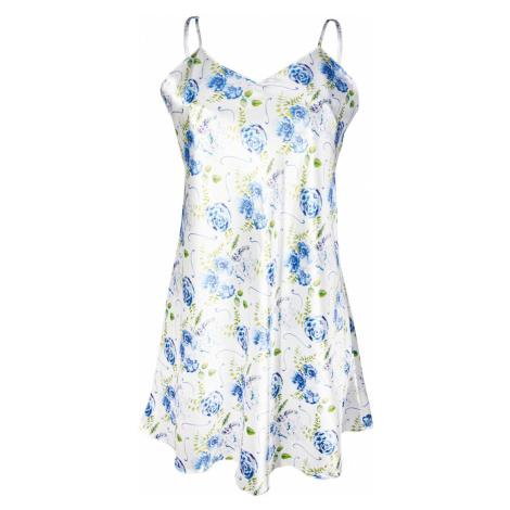 Krótka satynowa koszula Flowers niebieska DKaren