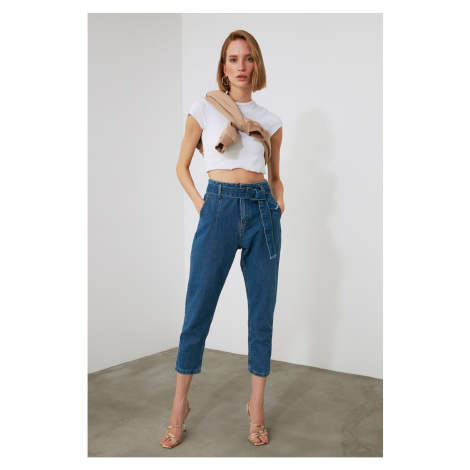 Trendyol Blue Belt High Waist Mom Jeans