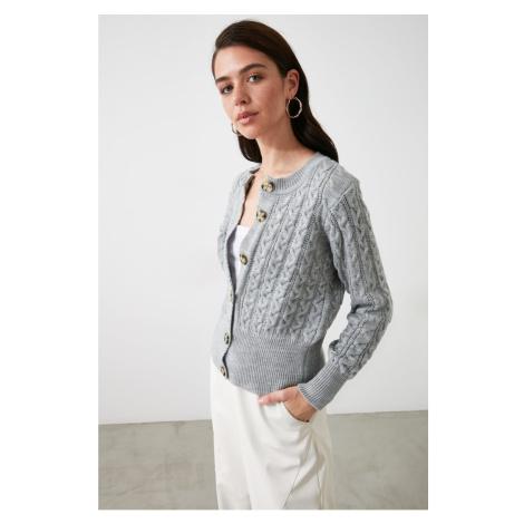 Trendyol Knitwear Cardigan WITH Gray Mesh Detail
