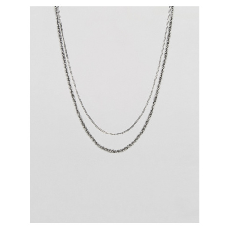 Mister double chain rope necklace in silver
