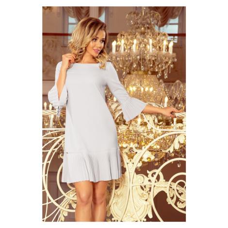 228-6 LUCY - plisowana wygodna sukienka - SZARA NUMOCO