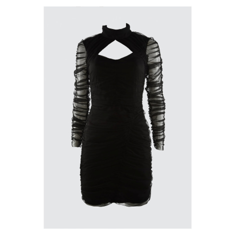 Trendyol Drape Szczegółowa sukienka z tiulu