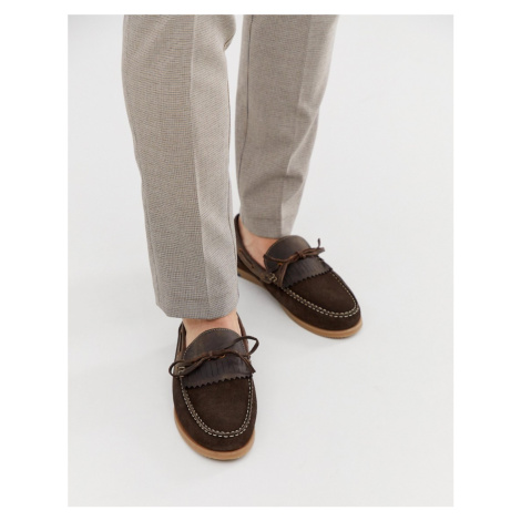 Silver Street fringe boat shoe in brown