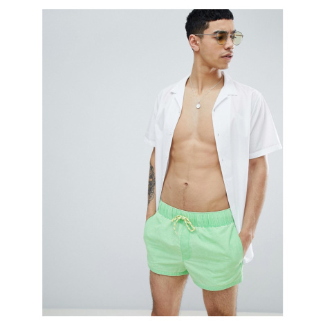 ASOS DESIGN Swim Shorts In Neon Green Acid Wash In Super Short Length