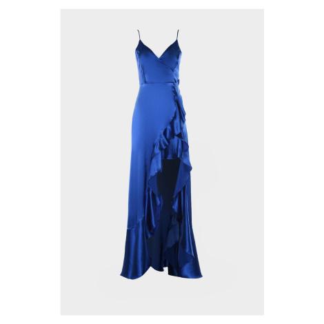 Trendyol Sax Volan Detailed Satin Evening Dress & Graduation Gown
