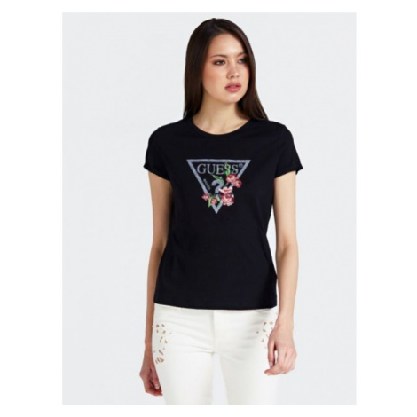 T-Shirt Z Logo, Strasowymi Aplikacjami I Haftem Guess
