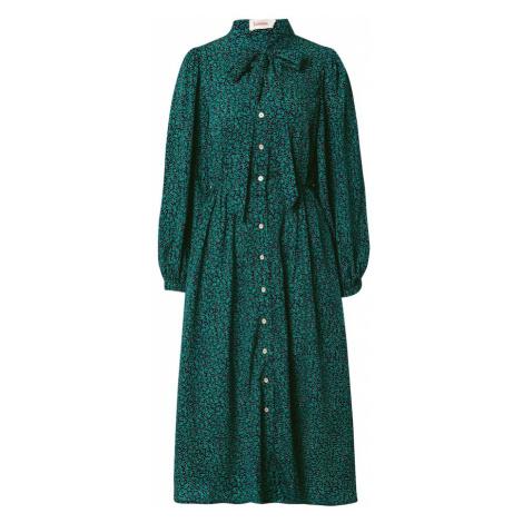 Louche Sukienka koszulowa 'Zuri Lucky Flower' ciemny niebieski / ciemnozielony / biały