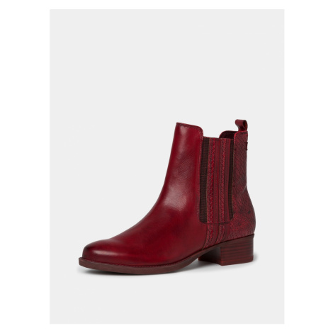 Red leather chelsea boots with snake pattern Tamaris