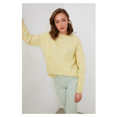 Trendyol Yellow Braided Knitwear Sweater