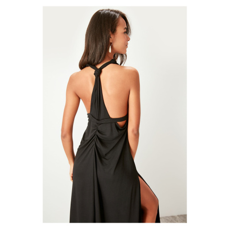 Trendyol Black back knitted beach dress