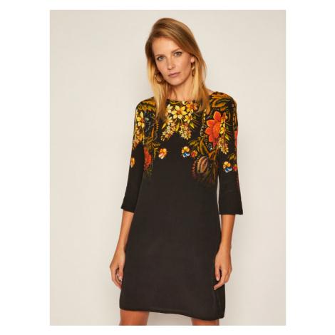 Desigual Sukienka codzienna Butter Flower 20WWVW82 Czarny Regular Fit