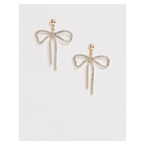 ASOS DESIGN earrings in crystal bow design in gold tone