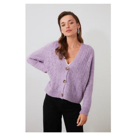 Trendyol Lila Ajurlu Button Detailed Knitwear Cardigan