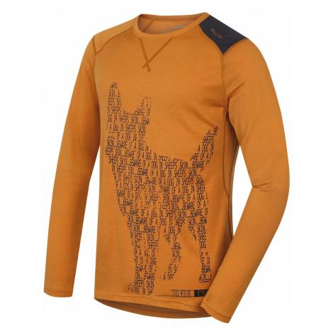Merino thermal underwear T-shirt long men's Dog brown-orange Husky