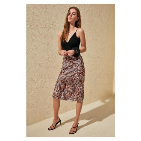 Trendyol Orange Printed Volan Satin Skirt