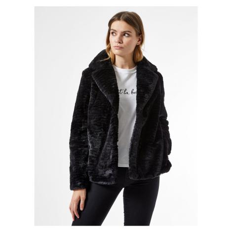 Czarny krótki płaszcz ze sztucznego futra Dorothy Perkins