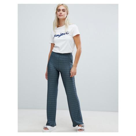 Pieces Metallic Stripe Wide Leg Trouser