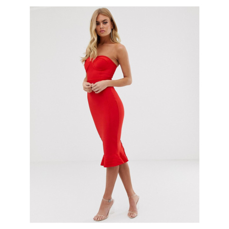 PrettyLittleThing bandeau bodycon bandage dress with frill hem in red