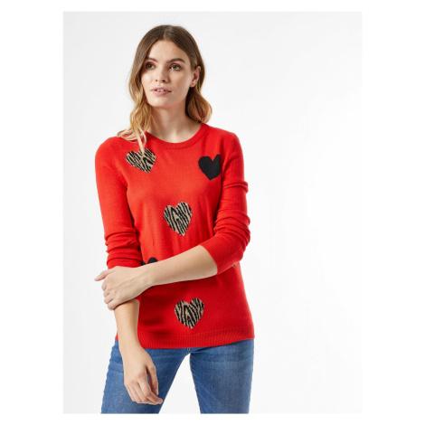 Czerwony wzorzysty sweter Dorothy Perkins