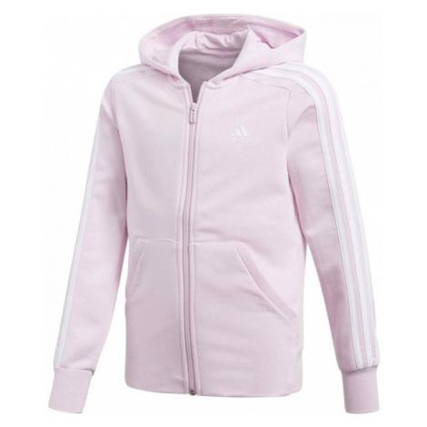 adidas ESSENTIALS 3 STRIPES FULL ZIP HOODIE różowy 164 - Bluza dziewczęca