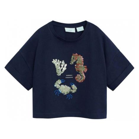 MANGO KIDS Koszulka 'OCEAN' granatowy / beżowy / królewski błękit / musztardowy / jasnoczerwony