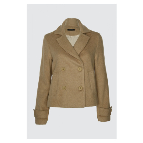 Trendyol Stone Short Front ButtonEd Stamp Coat