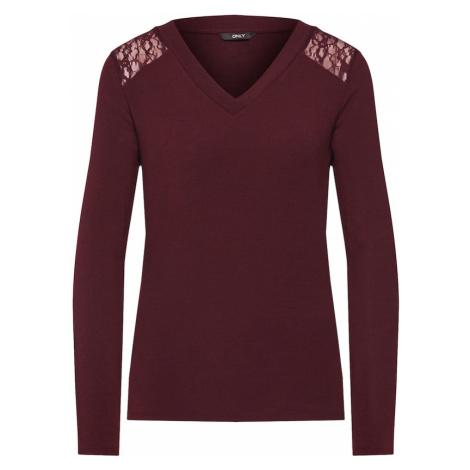ONLY Koszulka 'ONLBETTY L/S LACE DETAIL TOP JRS' czerwone wino