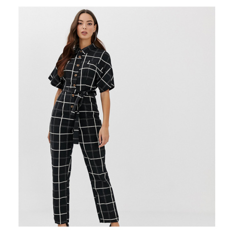 Boohoo button through belted jumpsuit in grid check