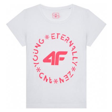 4F T-Shirt HJL21-JTSD005A Biały Regular Fit