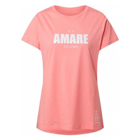 ARMANI EXCHANGE Koszulka biały / różowy pudrowy